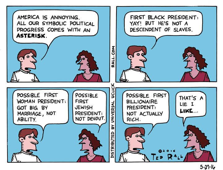 first with an asterisk Ted Rall marriage Hillary Clinton