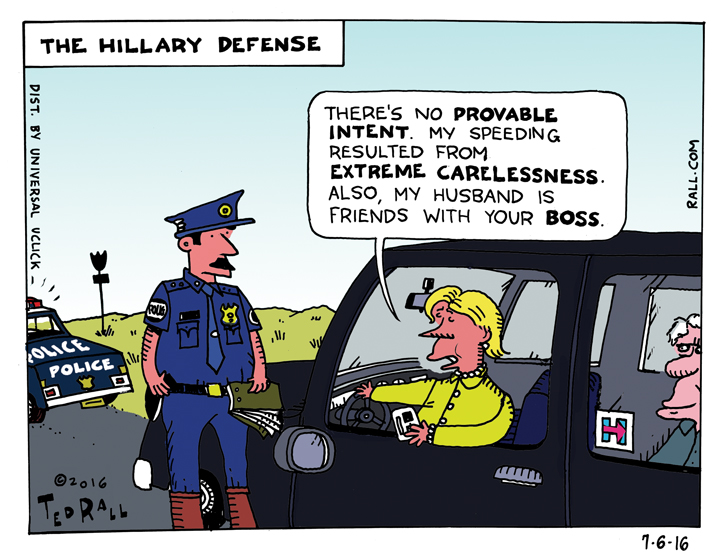 ted rall cartoon HRC hillary clinton no charges