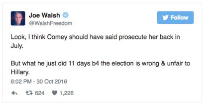 Joe Walsh criticizes Comey Republican attacks on FBI director James Comey