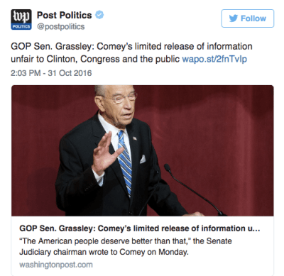 chuck grassley letter to FBI dir Jim Comey criticizing for Clinton Weiner email disclosure
