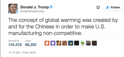 global warming Chinese hoax Donald Trump tweet 2012 anewdomain anti-science