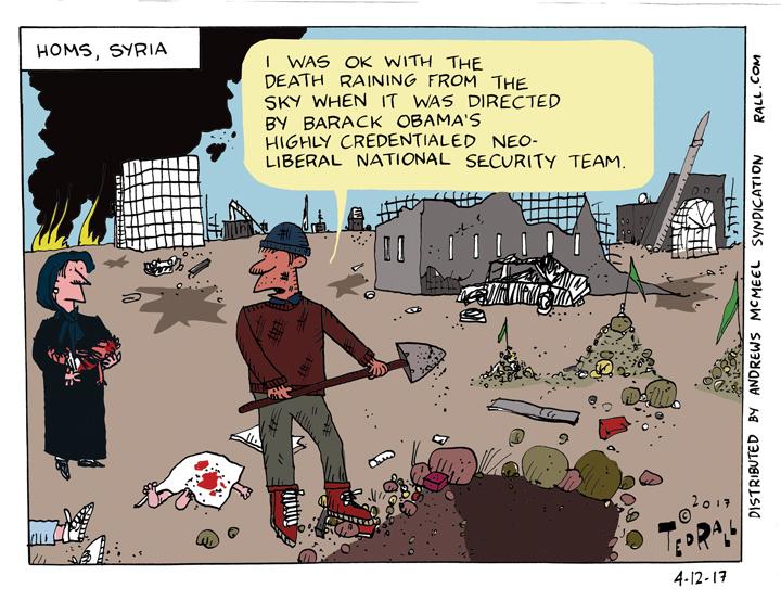 trump syria cartoon death raining from the sky