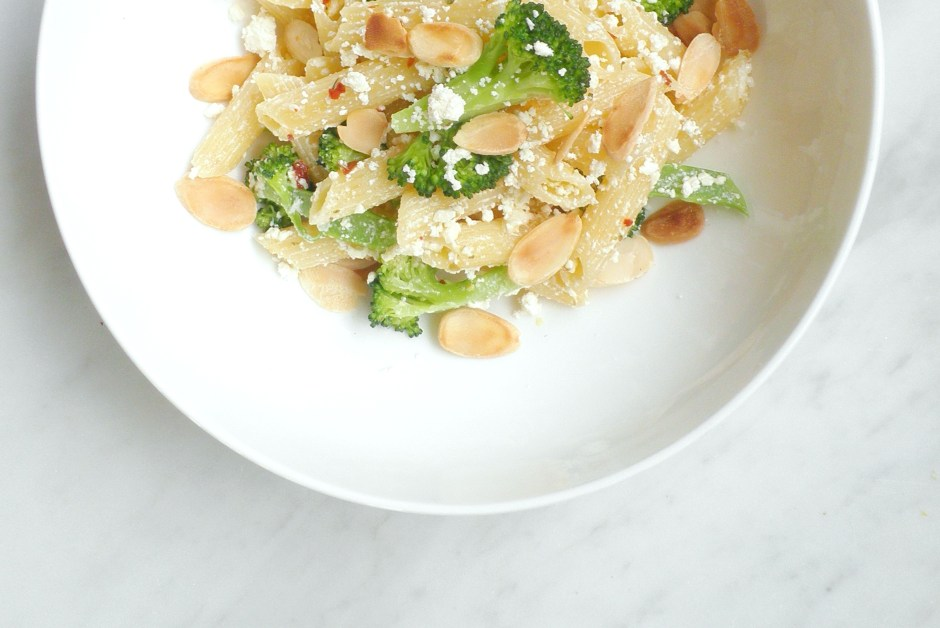 Penne with feta, broccoli, and almonds