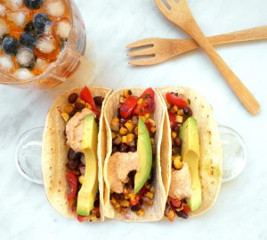 Tacos with Black Bean Salsa and Ice Tea