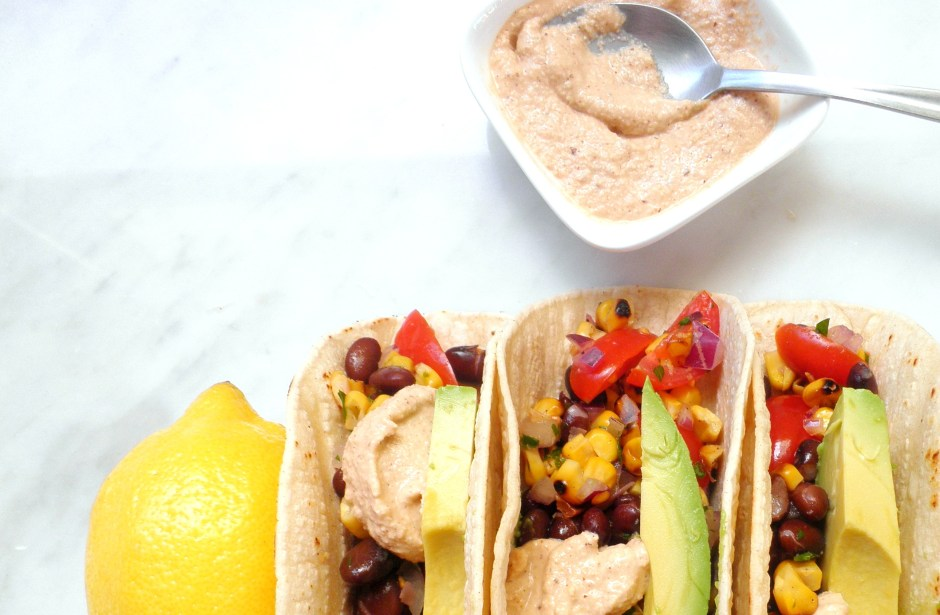 Tacos with black bean salsa and chipotle mayo