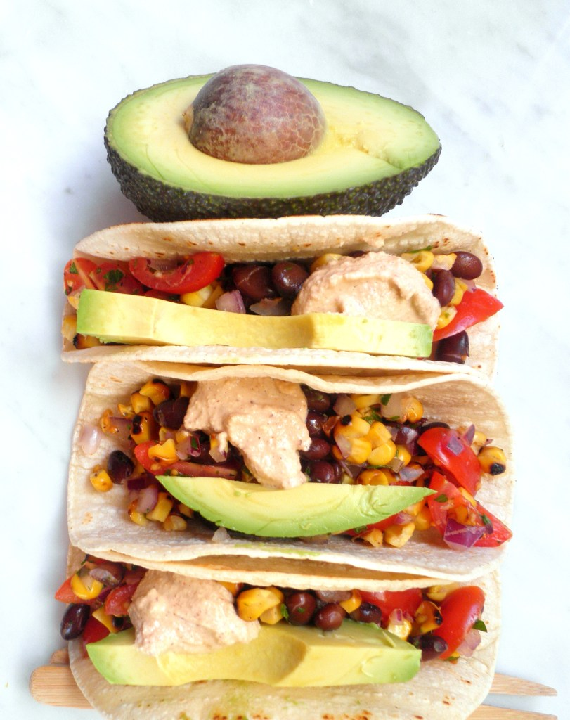 Black Bean Salsa Tacos with Avocado