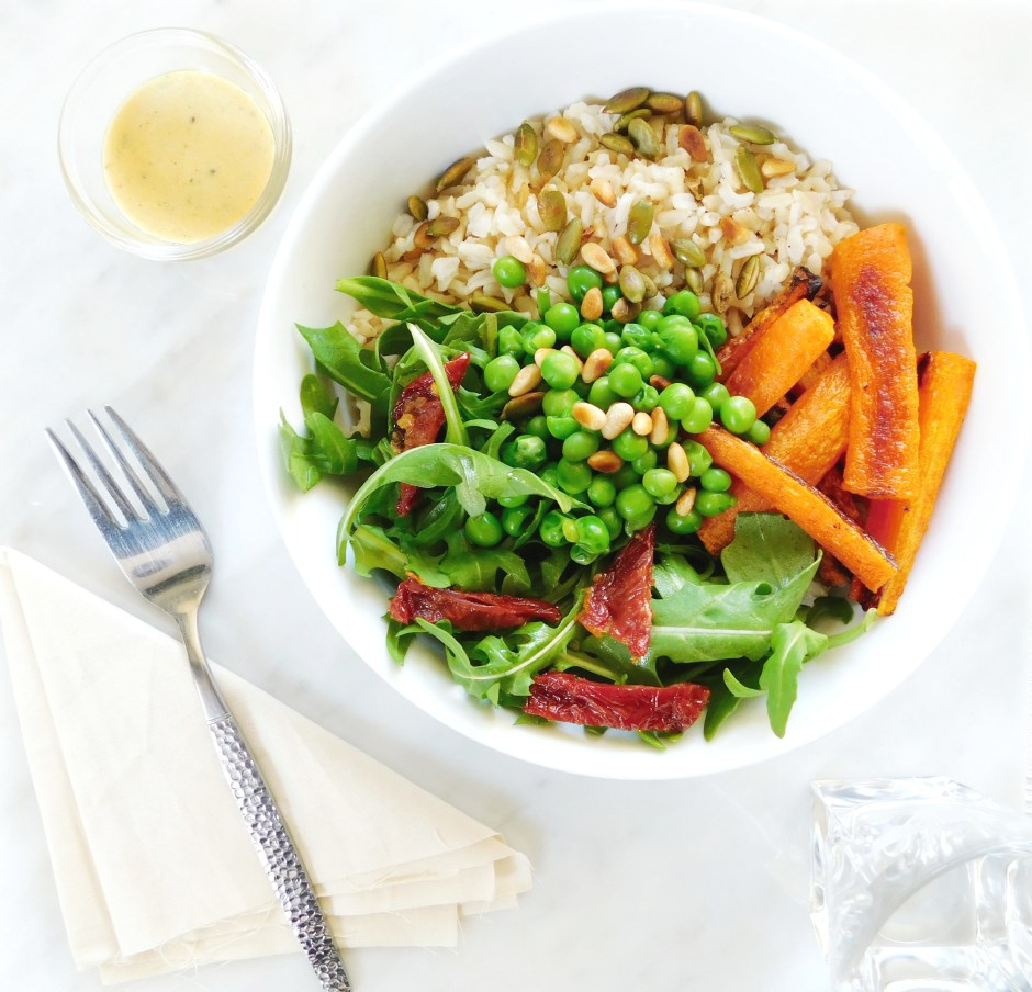 spicy carrot and pea bowl