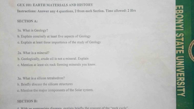 EBSU GEX Past Question First Semester