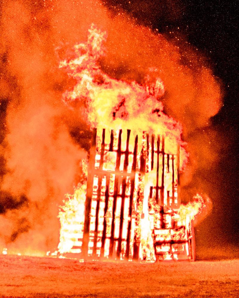 fire, house, field