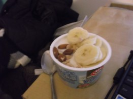Cottage cheese, banana, almonds
