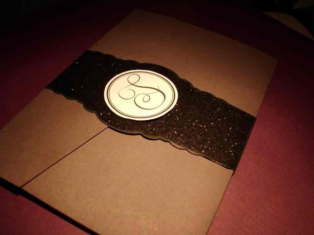 Gray and purple pocketfold wedding invitations