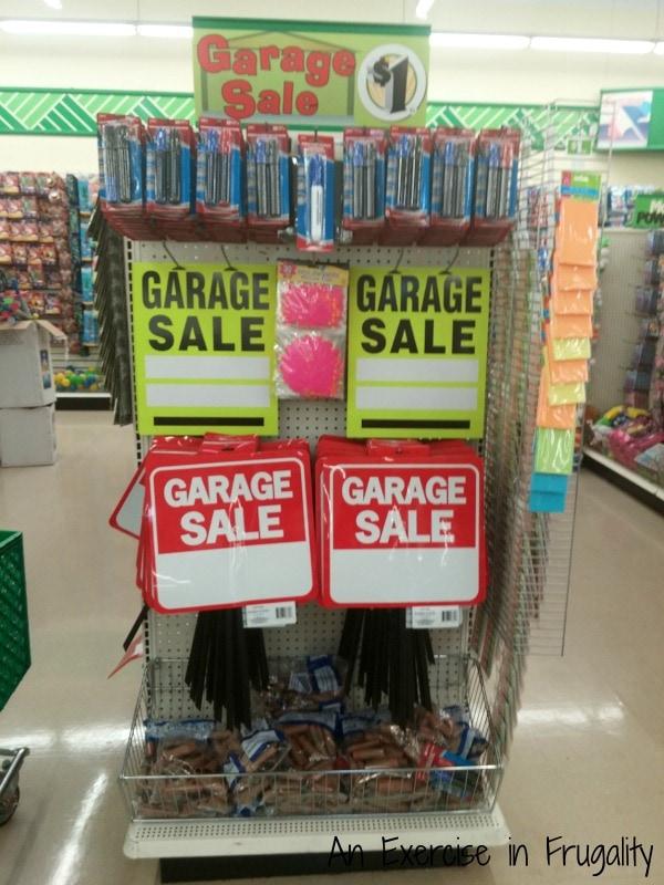 dollar tree garage sale supplies