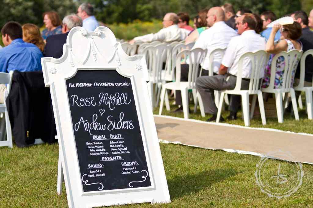 charlkboard wedding program sign