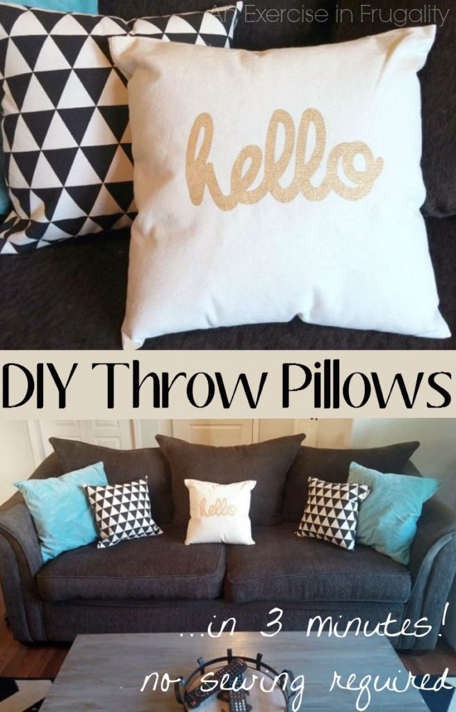 DIY No Sew Throw Pillows-So easy to make, perfect rainy day DIY project. Make these cozy throw pillows from a canvas shopping tote! Perfect to recycle old totes, or make a clever upcycle from a new bag with a cute pattern. LOVE this idea.