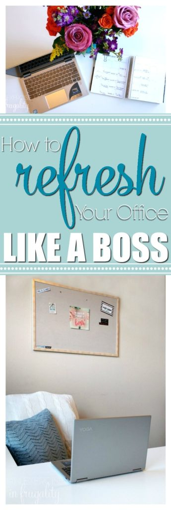 Refresh your office and your tech like a boss! This budget-friendly home office decor reveal shares my organizing tips for your workspace and your technology. Come see a sneak peek of what a blogger's office looks like, as well as some tips for organizing office and crafting supplies AND a free inspirational wall art printable for your vision board! #LoveYourPC ad