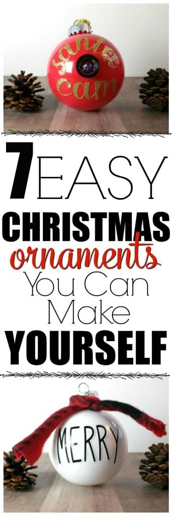 Easy Christmas Ornaments to Make Yourself- These Christmas ornaments are SO simple to make, anyone can do it in just minutes using supplies you already have in your craft closet. Glitter, scraps of fabric and a little craft paint and you have some gorgeous custom ornaments! #holiday #Christmas #decor #DIY #easy #paint #crafts #crafter