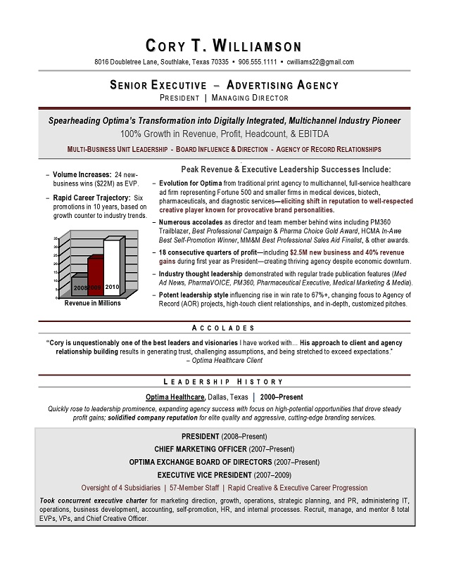 CMO Resume Sample Page 1