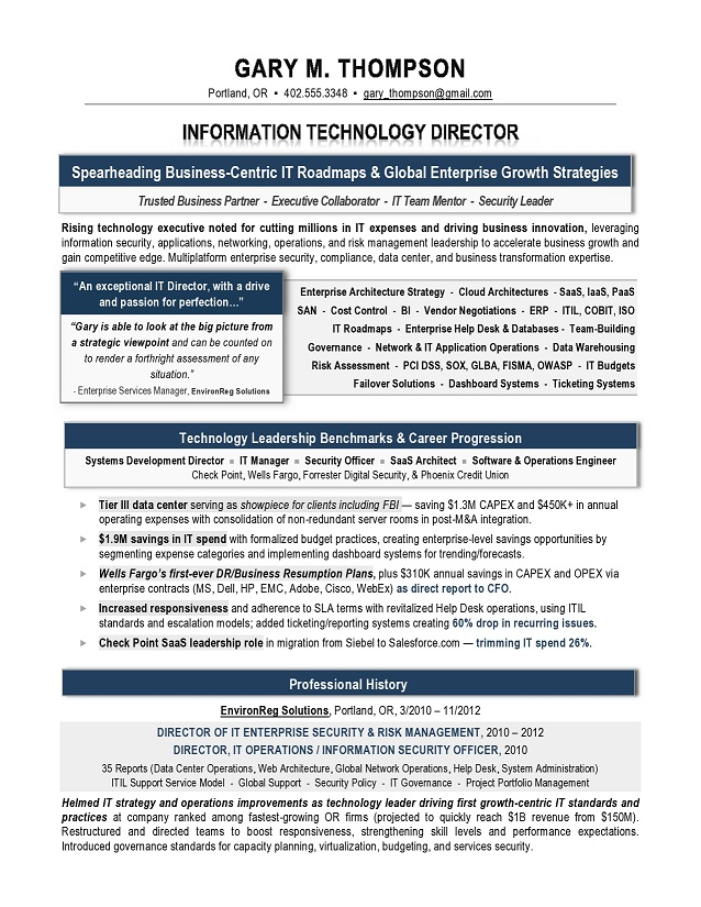 IT Director Sample Resume