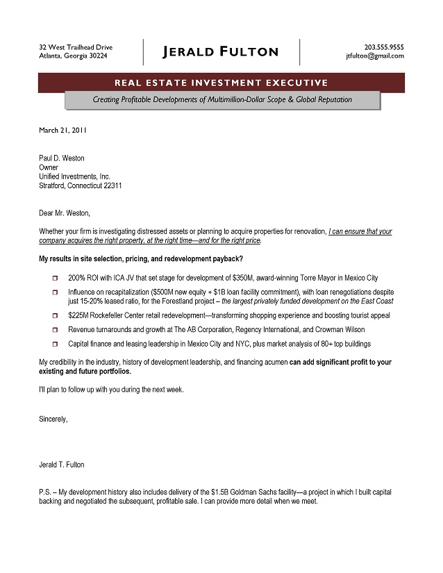 Real Estate Executive Cover Letter