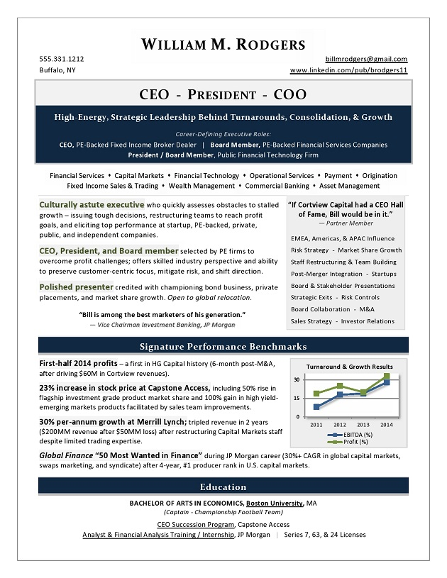 CEO, President, & COO Sample Resume