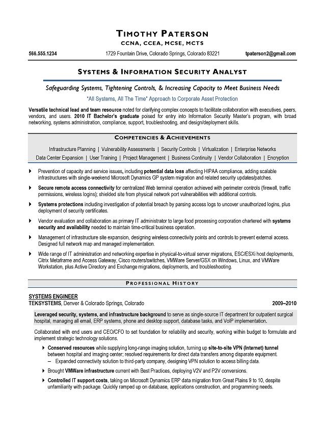 Systems Analyst Sample Resume
