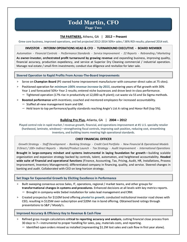 Award Winning CFO Resume Sample Page 2