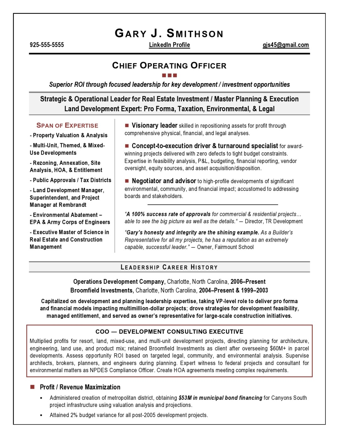 COO Resume Sample Page 1