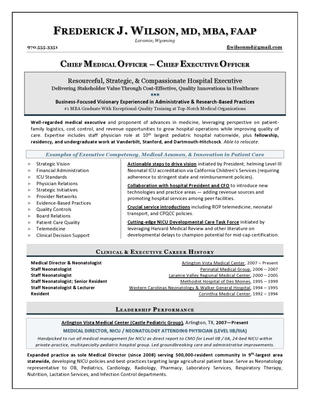 Chief Medical Officer Resume Sample Page 1