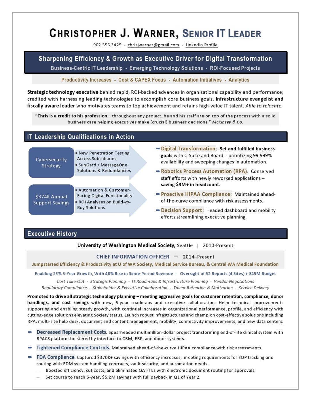Healthcare CIO Resume Sample Page 1