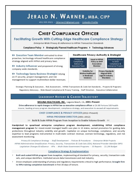 Chief Compliance Officer Executive Resume
