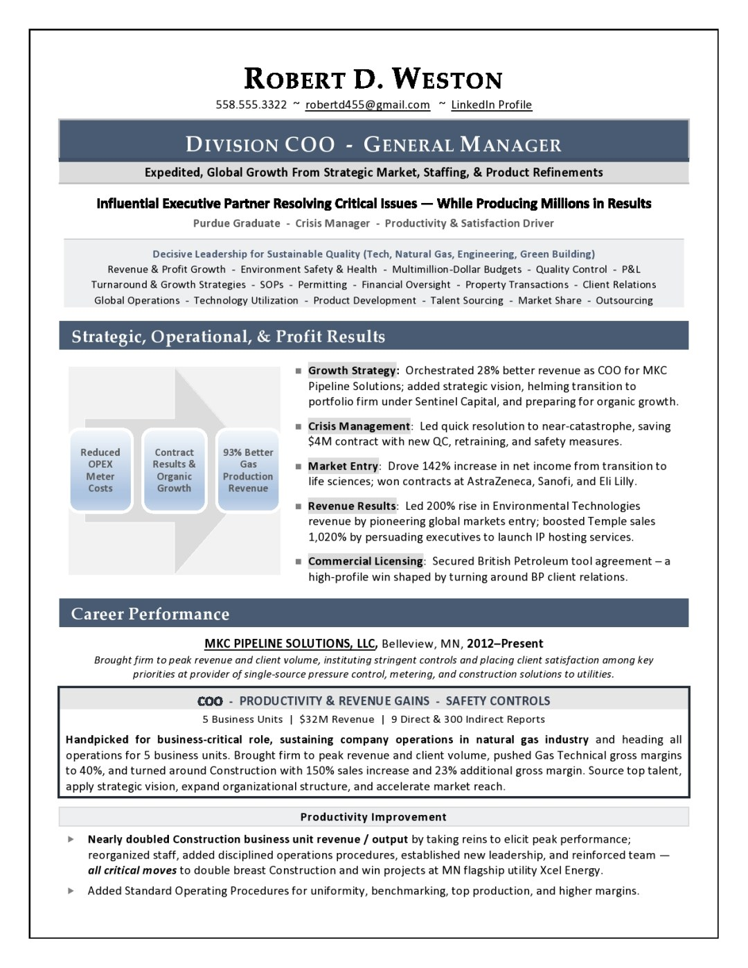 sample coo resume