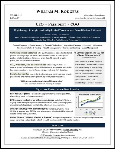 CEO, President, & COO Resume by Laura Smith-Proulx