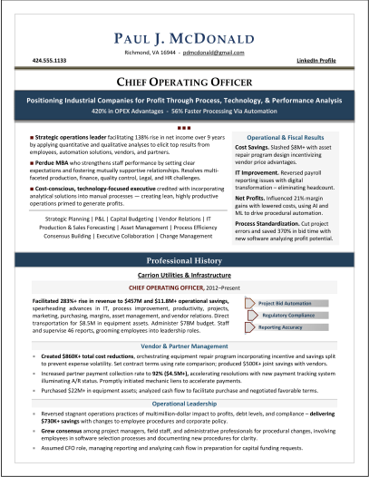 Infrastructure COO Resume by Executive Resume Writer Laura Smith-Proulx