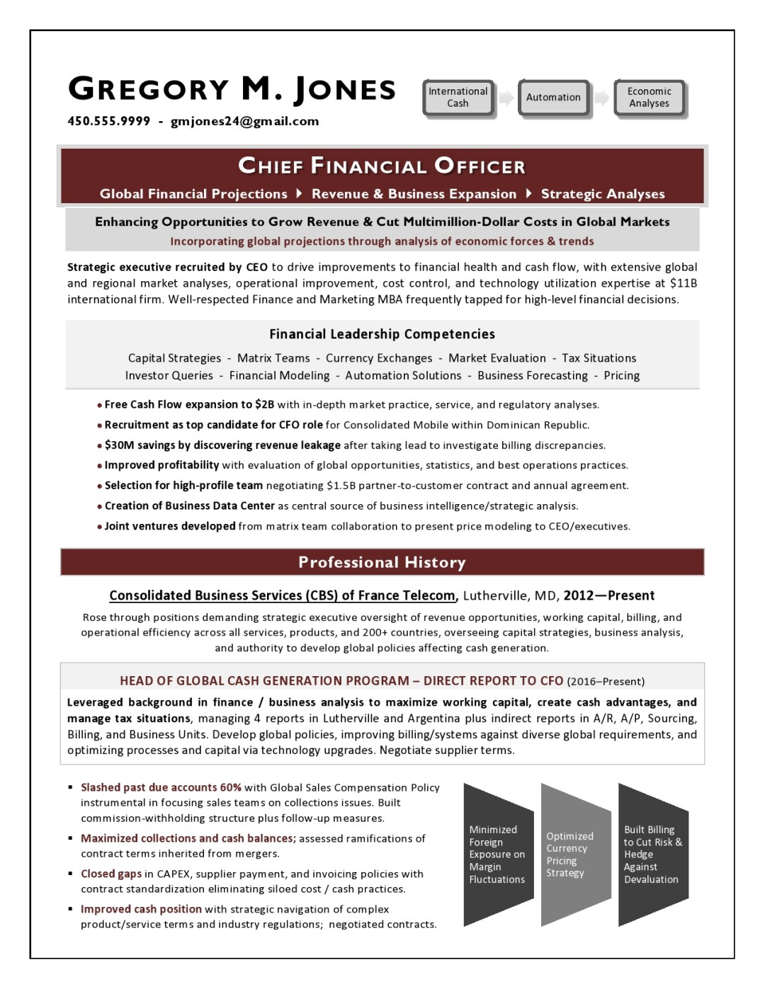 Global CFO Sample Resume by Laura Smith-Proulx