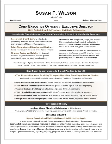 Nonprofit Executive Resume Sample by Laura Smith-Proulx