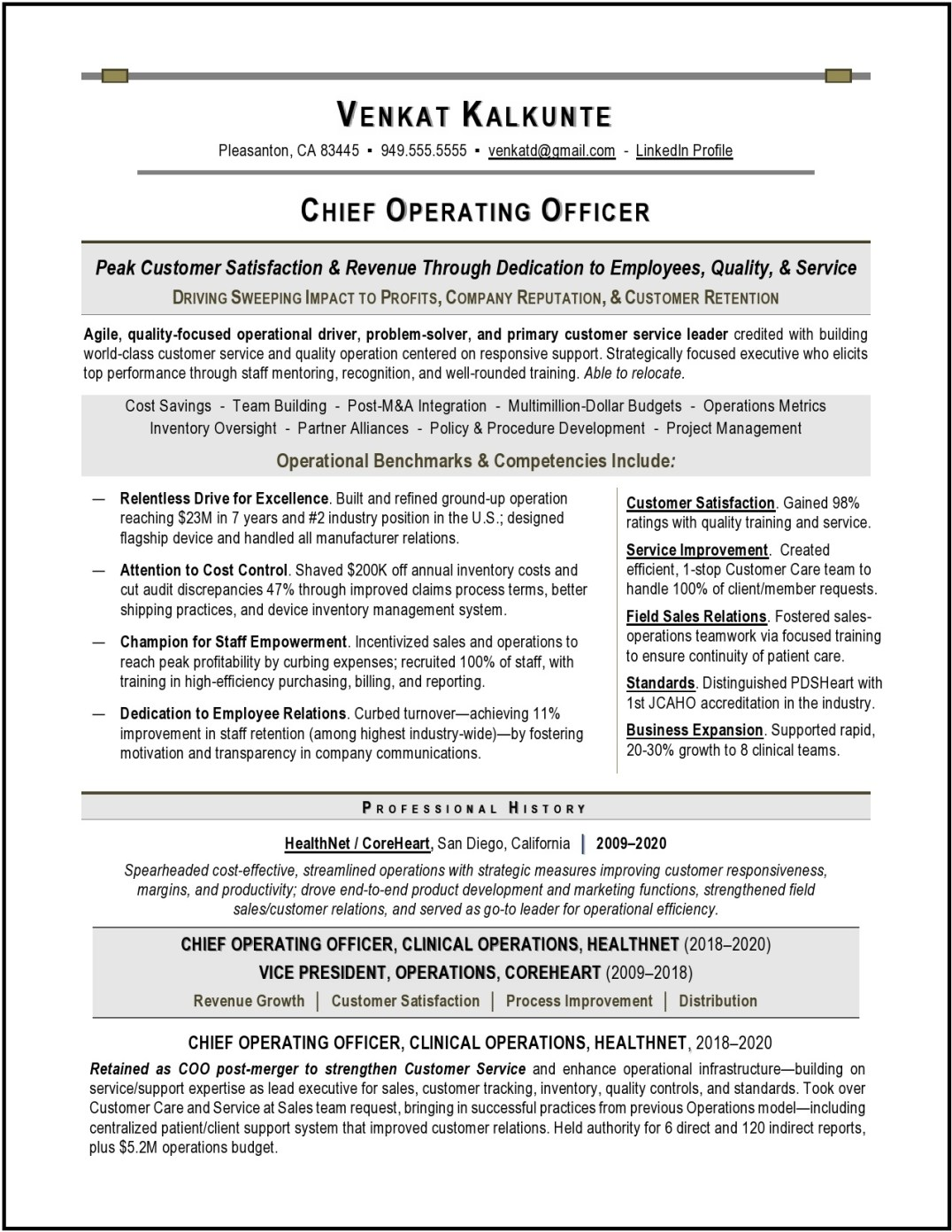 COO Healthcare Resume