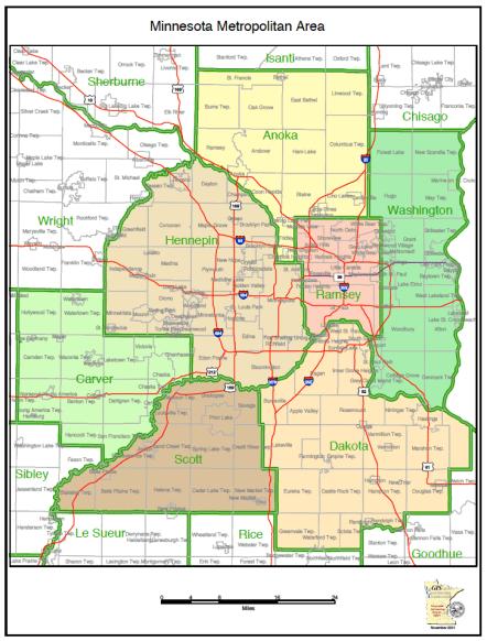 map: Minnesota, Twin Cities Metro