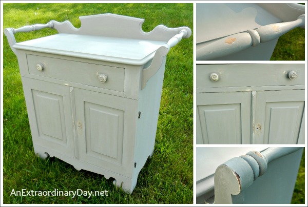 Second Coat Of Castle Before Waxing Antique Washstand With A Folkart Home Decor Chalk
