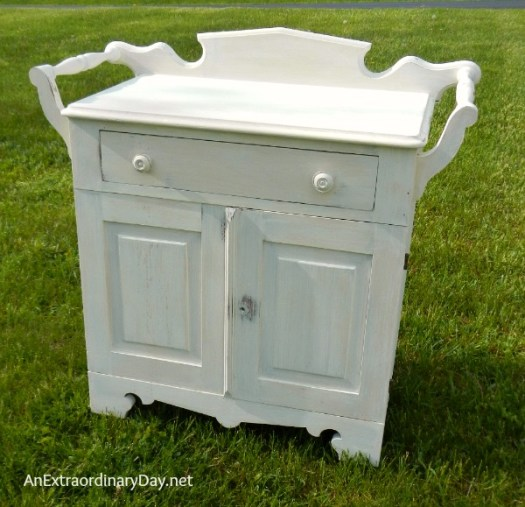 First Coat Of Paint Antique Washstand With A Folkart Home Decor Chalk Makeover
