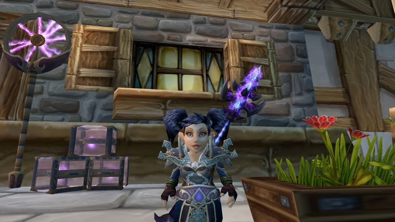 Snakedriver in her Frozen Shadoweave set with the Staff of Infinite Mysteries