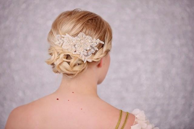bridal lace crystal headband