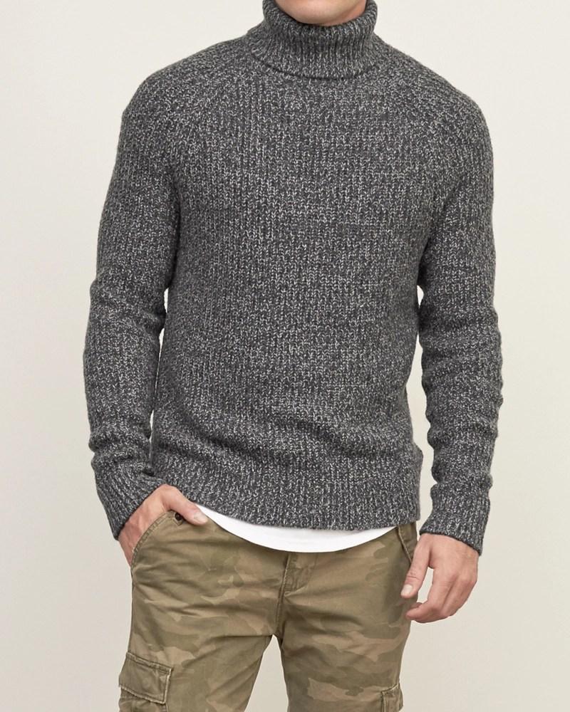 Fisherman Knit Sweater Mock Turtleneck Men