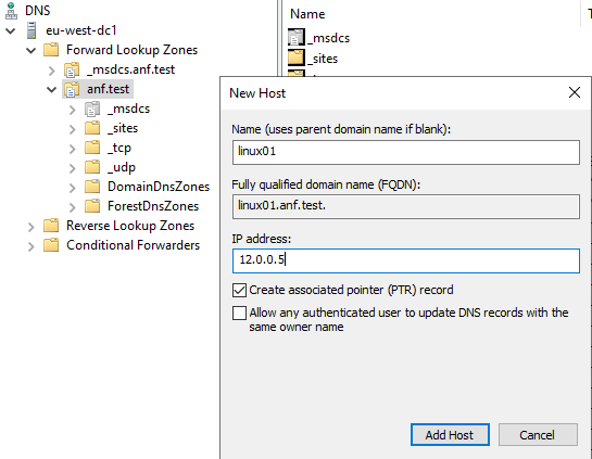 ActIve Directory add DNS entry