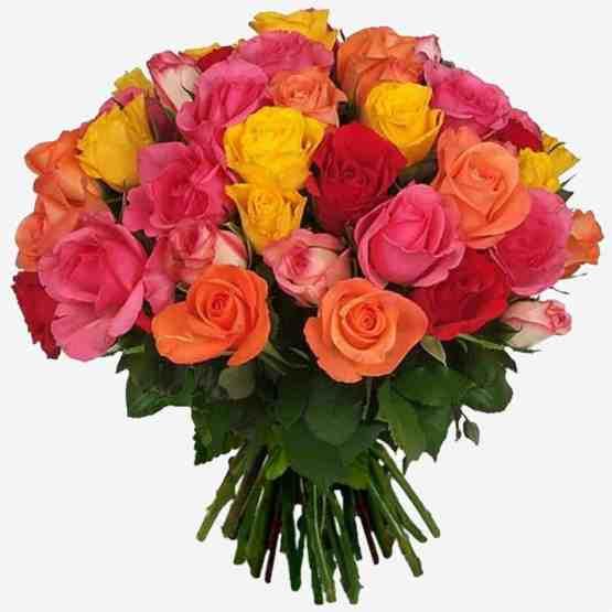 Букет Веселый микс из разноцветных роз
