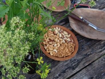 Flores de salsa e de mostarda na decoração. Castanhas e amêndoas orgânicas. ®SKLindemann