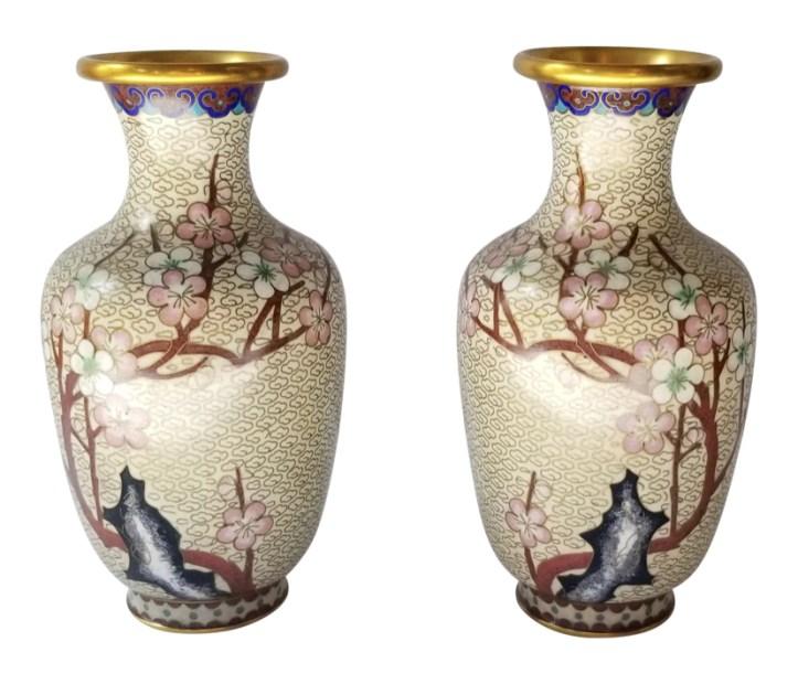 Antique dogwood flower cloisonné vases