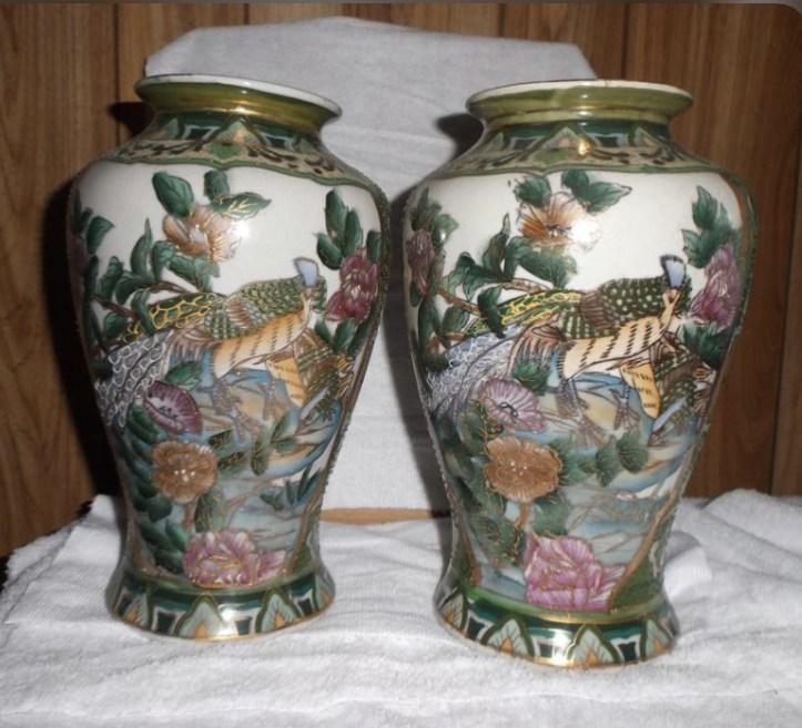 Vintage green cloisonne vase