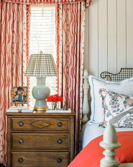 Mallory Mathison bedroom with pleated lampshade.