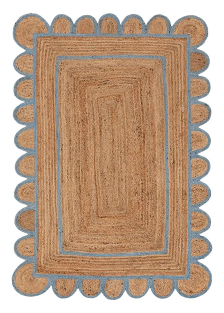 Scalloped rattan rug