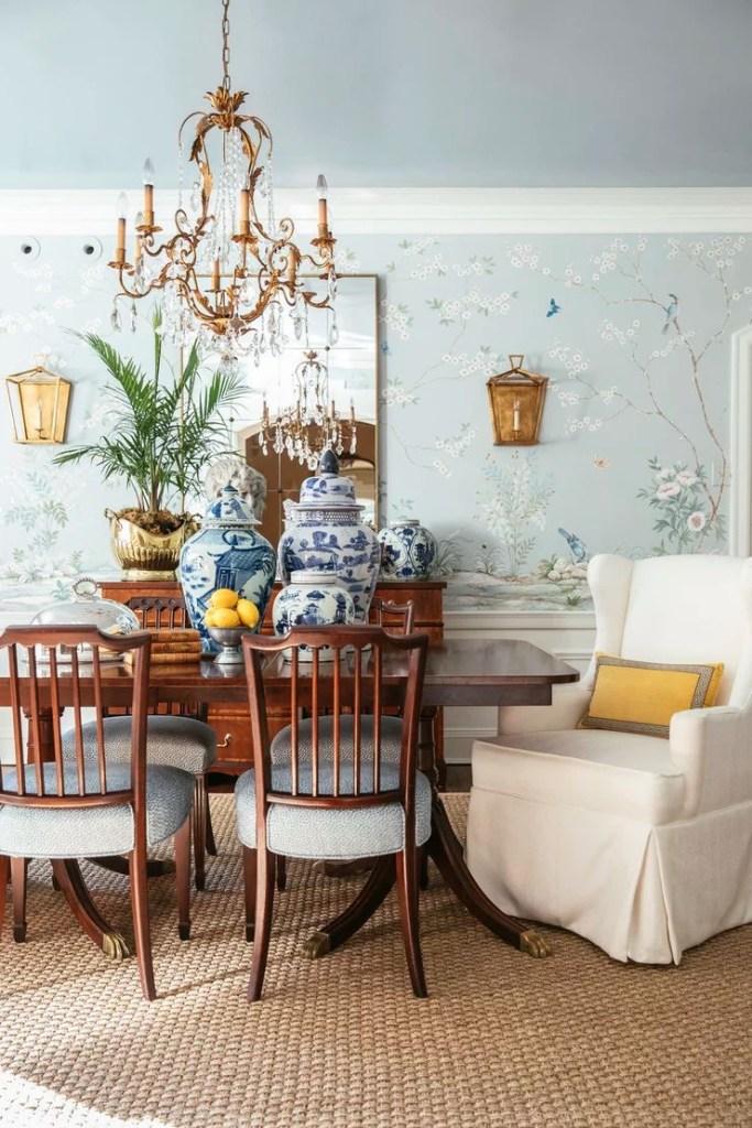 M + M light blue dining room